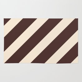 Antique White and Coffee Brown Diagonal Stripes Rug