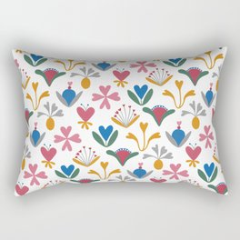 Fantasy Flowers – Blue Bell – Scandinavian Folk Art Rectangular Pillow
