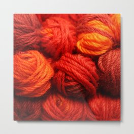 Many Balls of Wool in Shades of Red Metal Print