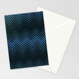 Blue And Black Zig Zag Abstract Design Stationery Cards