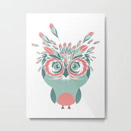 Whimsical Owl Feathers Happy Thanksgiving Metal Print