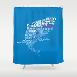 Shark in Different Languages Shower Curtain