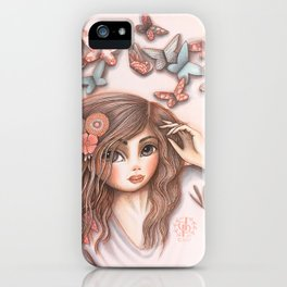 Paper Butterflies with girl iPhone Case