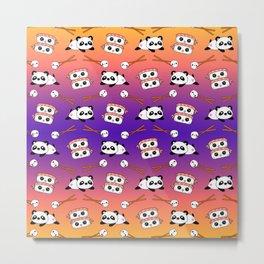 Cute funny Kawaii chibi little playful baby panda bears, happy cheerful sushi with shrimp on top, rice balls and chopsticks purple orange colorful design. Nursery decor. Metal Print