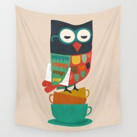 morning Wall Tapestries featuring Morning Owl by Picomodi