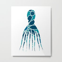 OCTOPUS SILHOUETTE WITH PATTERN Metal Print