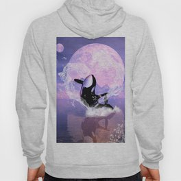 Orca jumping by a heart Hoody