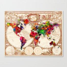 Antique and POP Art Map Canvas Print