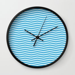 Oktoberfest Bavarian Blue and White Chevron Stripes Wall Clock