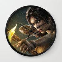 tomb raider Wall Clocks featuring TOMB RAIDER by Ylenia Pizzetti