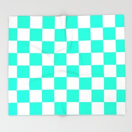 Cheerful Aqua Checkerboard Pattern Throw Blanket