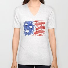 American Flag Watercolor Abstract Stars and Stripes Unisex V-Neck