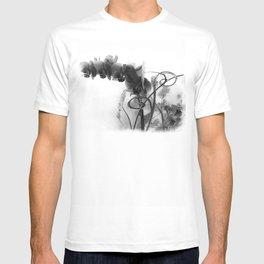 Flowers in black T-shirt
