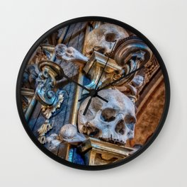 Sedlec Ossuary Column Photo Art, Skull Bone Church Wall Clock