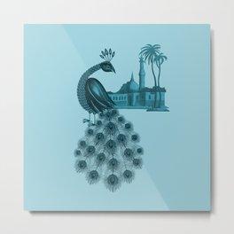 Blue peacock oriental dream Metal Print