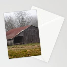 Barn in the Mist - Rustic Barn with Red Tin Roof on Foggy Day in Arkansas Stationery Cards