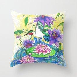 Lotus Hummingbird  Throw Pillow