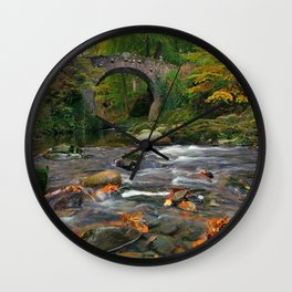 Awesome Little Stone Overpass Across Small River In Middle Of Woods Ultra High Resolution Wall Clock