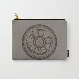 Pata Pattern in Clay on Grey Carry-All Pouch