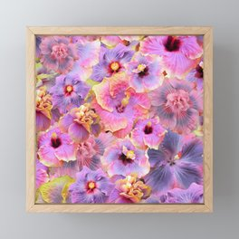 Tropical hibiscus patterns Flower Floral Flowers Framed Mini Art Print