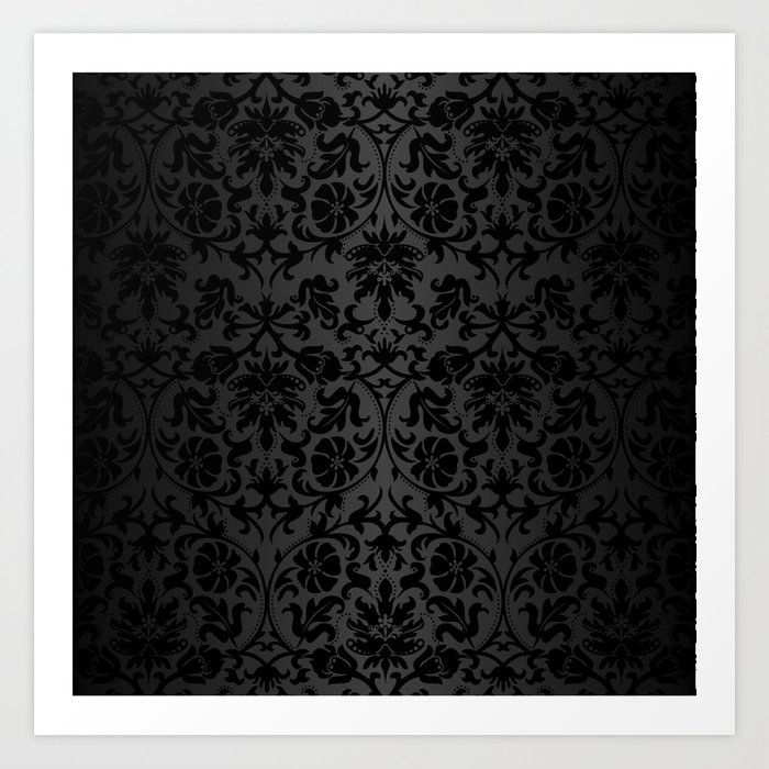 Black Damask Pattern Design Kunstdrucke