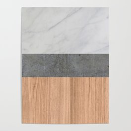 Carrara Marble, Concrete, and Teak Wood Abstract Poster