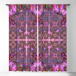 no.  141 pink with multicolored  pattern Blackout Curtain