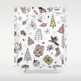 Christmas pattern, winter holiday background. Shower Curtain