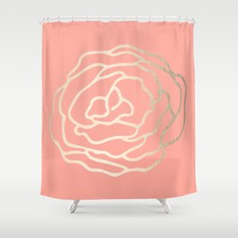 Flower in White Gold Sands on Salmon Pink Shower Curtain