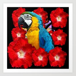 Red Hibiscus Flowers & Blue Macaw Parrot Black Accents Art Print