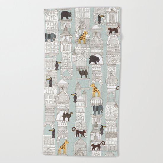 urban jungle silver mint Beach Towel