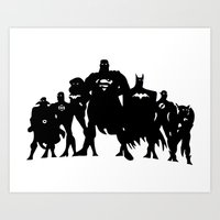 justice league Art Prints featuring Justice League Silhouette by iankingart