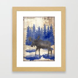 Moose in Finnish forest Framed Art Print