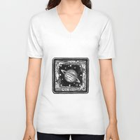saturn V-neck T-shirts featuring Saturn by Ouizi - Los Angeles