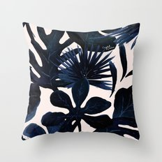 Tropical Leaves - Midnight Throw Pillow