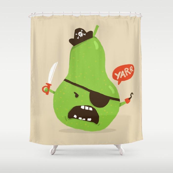Pear Ate Aka The Angry Pirate Shower Curtain