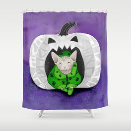 Sphynx Cat Wearing A Green Skull Hoodie Sitting in a White Pumpkin - Halloween Shower Curtain