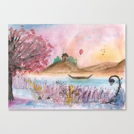 Watercolor Refuge Landscape Canvas Print