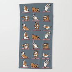 English Bulldog Yoga Beach Towel
