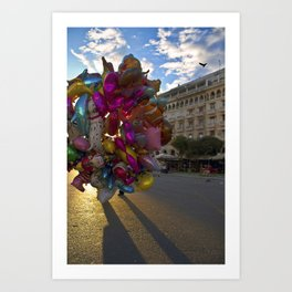 Urban Flowers Colorful Balloons at the Plaza Art Print