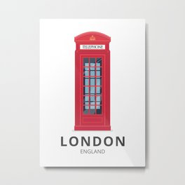 London England K6 Telephone Metal Print
