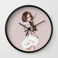 selena Wall Clocks featuring Selena in Marchesa 2014 by Laia™