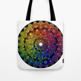 Mandala 46 - Psychedelic Mandala Rainbow series Tote Bag