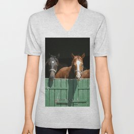 Close-up face of horses in stable.The horse is looking out from behind green wooden fence of the barn at rural animal farm summertime. Unisex V-Neck