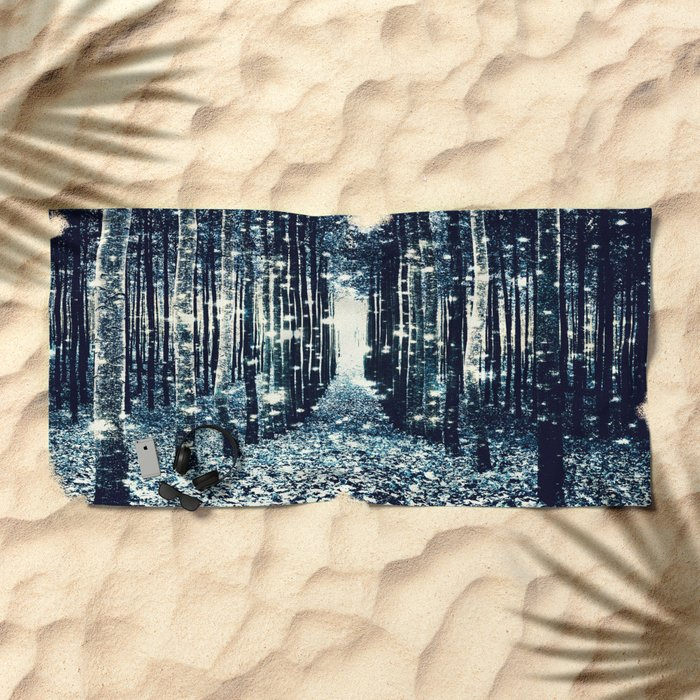 Magical Forest Teal Gray Elegance Beach Towel