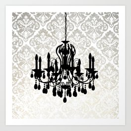 Chandelier Silhouette Metallic Damask Backdrop Art Print