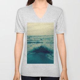 Waves crashing against rocks | Beach Unisex V-Neck