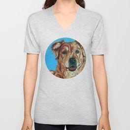 Cody the Golden Labrador Mix Dog Portrait Unisex V-Neck