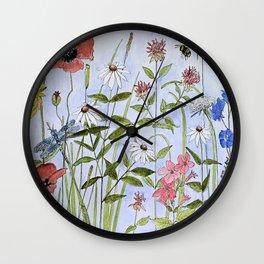 Wildflower Botanical Garden Flower Blue Skies Watercolor Wall Clock
