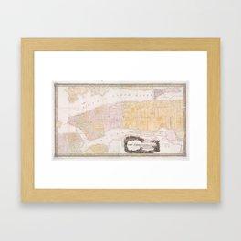 Vintage Map of New York City (1845) Framed Art Print